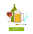 avoid alcohol and smoking health care themed tip vector image vector image