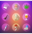 Bad Habits Flat Icon Set Include beer alcohol vector image vector image