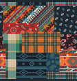 bandana native motifs and tartan fabric patchwork vector image