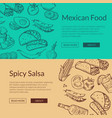 banner with mexican food elements vector image vector image