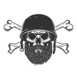 bearded soldier skull with crossed bones in army vector image vector image