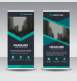 blue polygon business roll up banner flat design vector image vector image