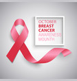 breast cancer awareness ribbon background template vector image