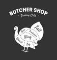 butcher shop label turkey cuts farm poultry vector image