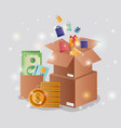 cardboard boxes with ecommerce icons vector image vector image