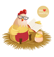 Cartoon hen and chick reading a book vector image vector image