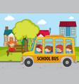 children in the school bus vector image