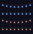 christmas glowing lights garlands set vector image vector image