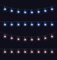 christmas glowing lights garlands set vector image vector image