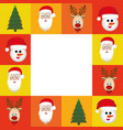colorful square christmas frame decorative vector image vector image