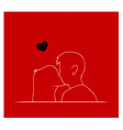 Couple Kissing in Front of Red Background vector image