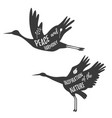 cranes vintage logo template with inspiration text vector image
