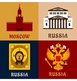 cultural historic and religion russia flat icons vector image