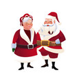 cute couple mr and mrs santa claus characters vector image vector image