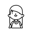 cute little girl happy cartoon character thick vector image