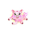 cute pig lying cheerful funny pig vector image vector image