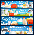 dairy milk products banners farm cheese butter vector image