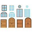 different styles of windows and doors vector image vector image