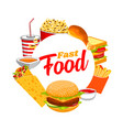 fastfood isolated round frame burger soda drink vector image
