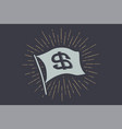 flag dollar old school banner with sign usd vector image