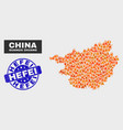 flame mosaic guangxi zhuang region map and vector image vector image
