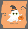 halloween banner cute fllying ghost with pumpkin vector image vector image