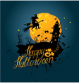 Halloween night sillouette of witch and cat flying vector image