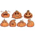 halloween pumpkins jack set 7 pumpkins for your vector image