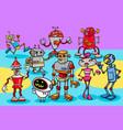 happy robots cartoon characters group vector image vector image