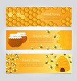 honey banners cute cartoon honeybees with beehive vector image vector image
