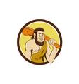 Neanderthal Man Holding Club Circle Cartoon vector image vector image