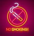 no smoking neon sign vector image vector image