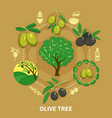 olive tree round composition vector image