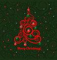 patterned florid christmas tree on a green vector image