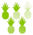 Pineapple silhouettes in green different vector image vector image