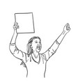 protest woman with blank sign board is screaming vector image vector image