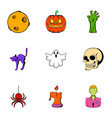 pumpkin lantern icons set cartoon style vector image vector image