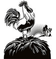 rooster at dawn vector image