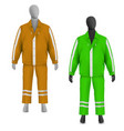 safety jacket and pants set on mannequin vector image vector image