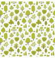 seamless green pattern with different trees hand vector image