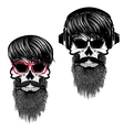 Set of hipster skulls with hairstyle sunglases vector image vector image