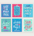 summer hand drawn calligraphyc card set vector image vector image