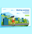 summer skating banner template girl on a skate vector image vector image