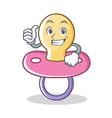 thumbs up baby pacifier character cartoon vector image