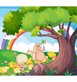 Two wild animals near the tree with flowers vector image vector image