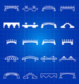 white outline and thin line bridges icons vector image