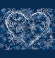 winter card of snowy valentines heart vector image vector image