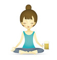 woman doing yoga beer vector image