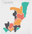 congo republic map with states vector image