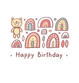 Happy birthday greeting bear vector image
